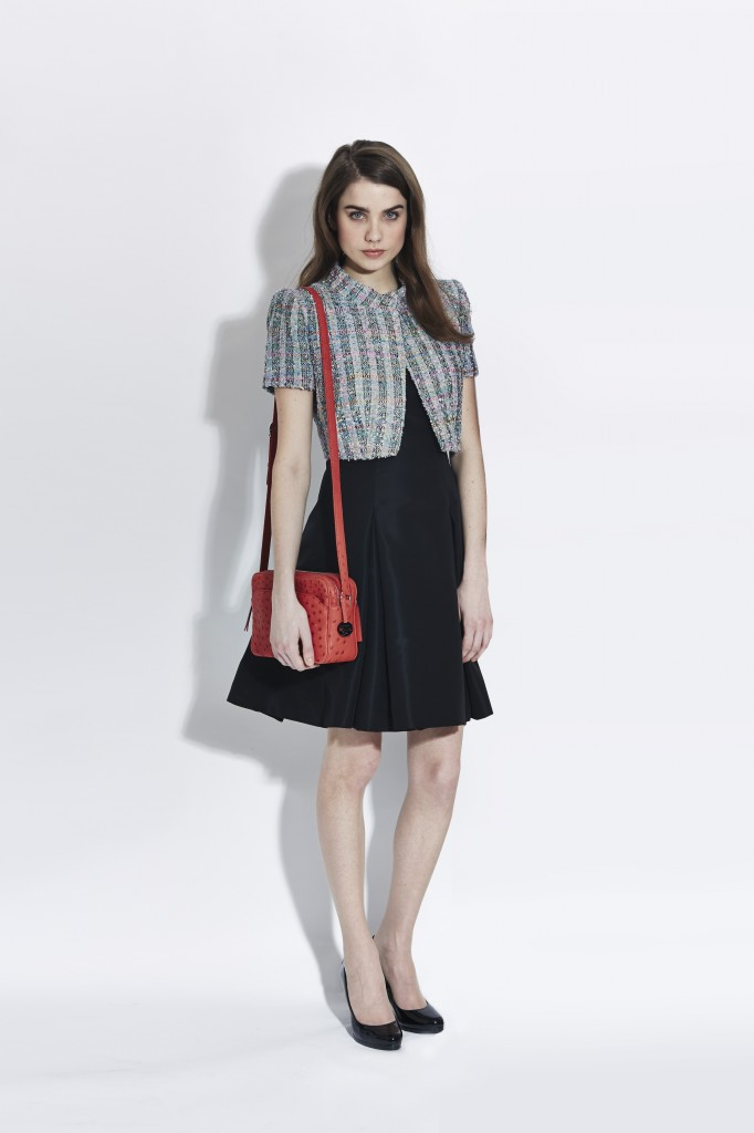 LA Box jacket and black silk faille dress